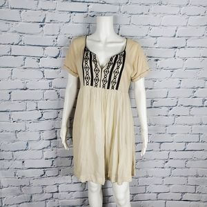 Free People Cream Cotton Embroidered Dress